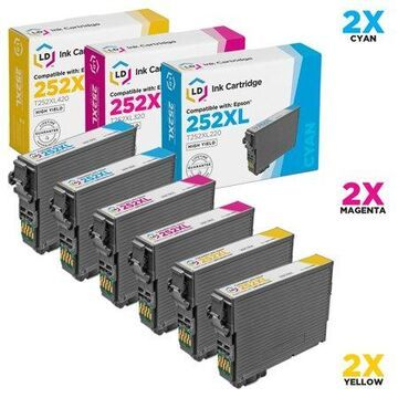 Remanufactured Replacements for T252XL Set of 6 High Yield Cartridges Includes: 2 T252XL220 Cyan, 2 T252XL320