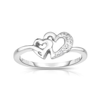 Noray Designs 14k Gold Diamond Accent Double Heart Ring