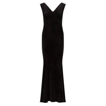 Norma Kamali - Grace Fishtail-hem Velvet Dress - Womens - Black