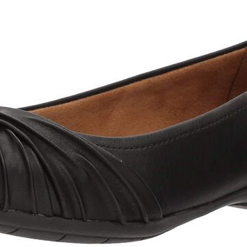 NATURAL SOUL Womens girly Leather Closed Toe Slide Flats