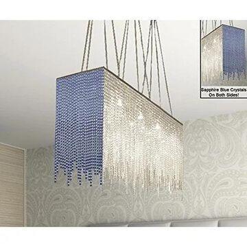 Modern 10 Light Chandelier Dressed With Blue Crystal