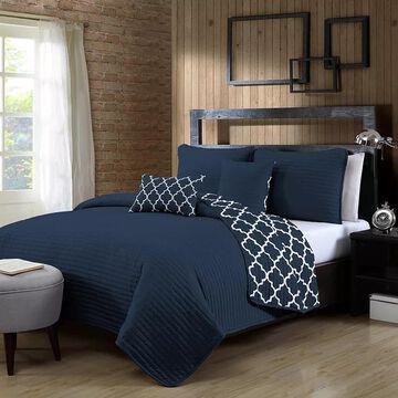 Avondale Manor Griffin 5-piece Quilt Set, Blue, King