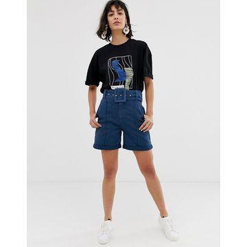 ASOS WHITE denim belted shorts