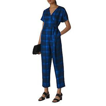 Whistles Plaid Linen Jumpsuit
