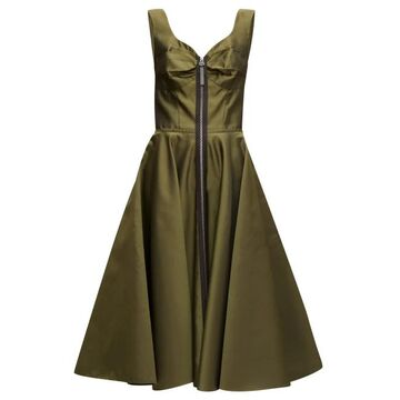 Marni - Zip-through Bustier-inspired Twill Midi Dress - Womens - Green