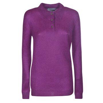 Prada Ribbed Woven Polo Sweater
