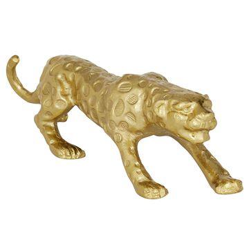 DecMode Metal Asymmetrical Leopard Animal Sculptures, Gold