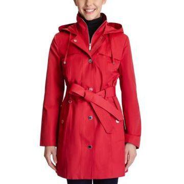 London Fog Hooded Belted Raincoat