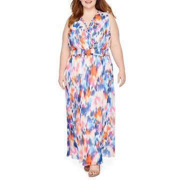 London Times Sleeveless Abstract Maxi Dress-Plus