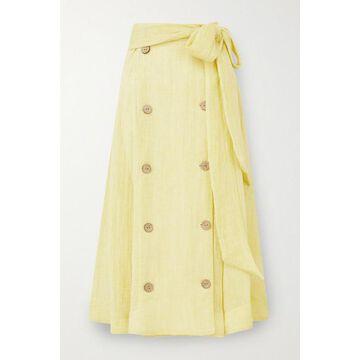 Lisa Marie Fernandez - Diana Belted Linen-blend Gauze Midi Skirt - Yellow