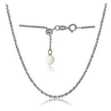 Mondevio 14K White Gold 1.3mm Rock Rope Adjustable Italian Chain Necklace, 14-20 Inches (White)