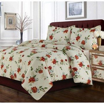 Tribeca Living Madrid Floral Printed Oversized Duvet Set Queen