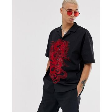 Jaded London two-piece revere collar shirt with dragon print in black