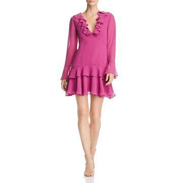 Keepsake Womens Chiffon Ruffled Cocktail Dress