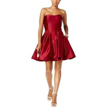 Betsy & Adam Womens Strapless Mini Cocktail Dress