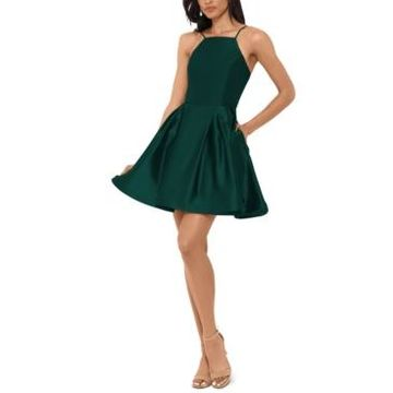 Betsy & Adam Petite Halter Fit & Flare Dress