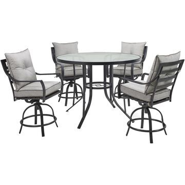 Hanover Lavallette 5-Piece Black Frame Patio Set with Gray Hanover Cushion(s) Included | LAVDN5PCBR-SLV