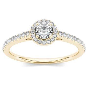 De Couer IGI Certified 14k Yellow Gold 1/2ct TDW Diamond Halo Engagement Ring