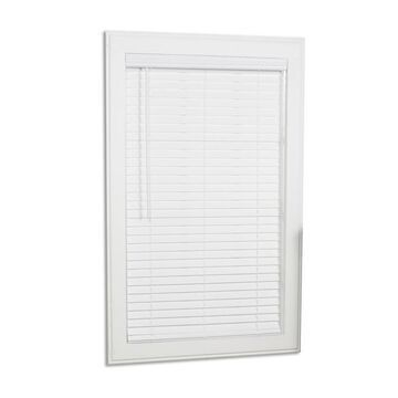 allen + roth 2-in Slat Width 62-in x 64-in Cordless White Faux Wood Room Darkening Full-view Standard Horizontal Blinds