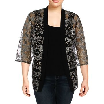 Alex Evenings Womens Plus Twinset Embroidered Floral