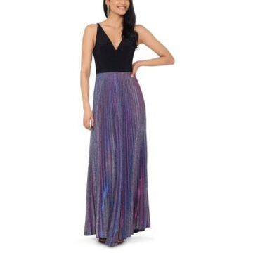 Betsy & Adam Pleated Glitter Gown