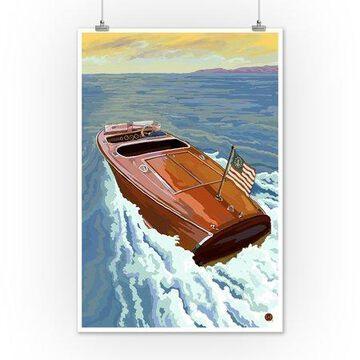 Wooden Boat on Lake - Lantern Press Poster (12x18 Art Print, Wall Decor Travel Poster)