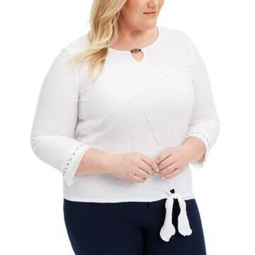 Alfred Dunner Plus Size Checkmate Tie-Hem Top