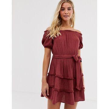 Miss Selfridge bardot mini dress with tie waist in red