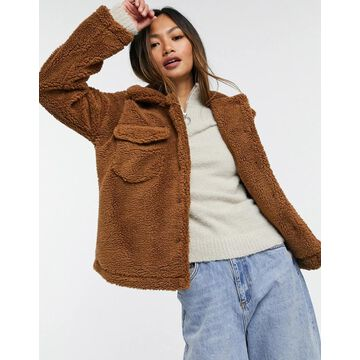 AX Paris teddy trucker jacket in brown