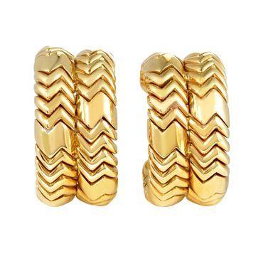 Bvlgari Spiga Yellow Gold Clip-on Huggie Earrings