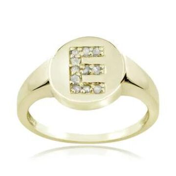 DB Designs Sterling Silver 1/10ct TDW Diamond E Initial Ring (9 - Gold Plate - Yellow)