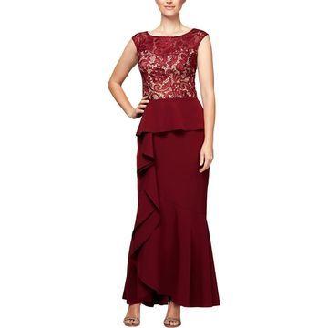 Alex Evenings Womens Lace Mermaid Evening Dress