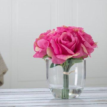Rose Floral Arrangement with Glass Vase - Pink by Pure Garden