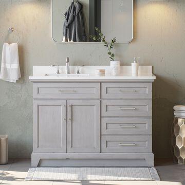 allen + roth Felix 48-in Vintage Gray Undermount Single Sink Bathroom Vanity with White Engineered Stone Top   FELIX-48VG