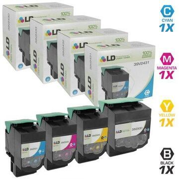 LD Compatible Replacement for InforPrint Color 1824 / 1836 / 1825 / 1826 MFP Set of 4 Laser Toner Cartridges: 1 Black 39V2430, 1 Cyan 39V2431 1 Magenta 39V2432 & 1 Yellow 39V2433