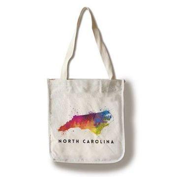 North Carolina - State Abstract Watercolor - Lantern Press Artwork (100% Cotton Tote Bag - Reusable)