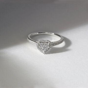 De Couer 10k White Gold 1/4ct TDW Diamond Halo Engagement Ring