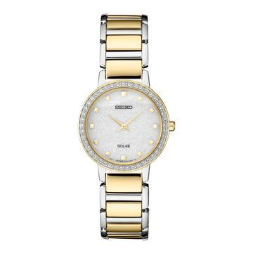 Seiko Women's Crystal Accent & Glitter Two Tone Solar Watch - SUP434