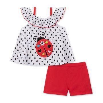Little Girls 2-Pc. Ladybug Top & Shorts Set