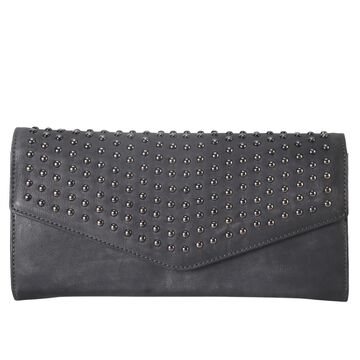 Diophy Genuine Leather Stud Flap Clutch with Detachable Strap