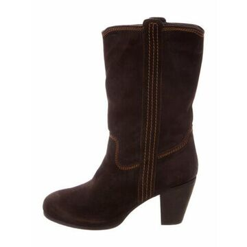 Suede Western Boots Brown