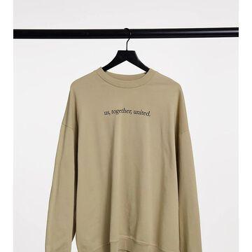 Reclaimed Vintage inspired unisex slogan sweatshirt in khaki-Green