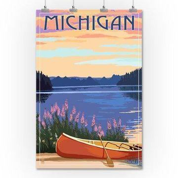 Michigan - Canoe & Lake - Lantern Press Artwork (36x54 Giclee Gallery Print, Wall Decor Travel Poster)