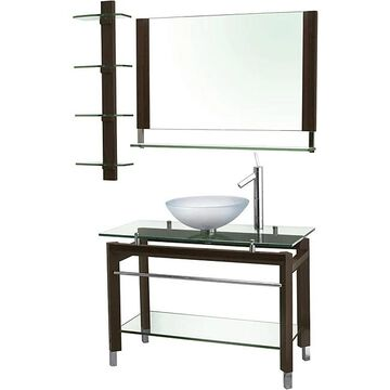 Decolav Wood and Glass Console with Matching Mirror and Shelf (30 Inch - Single - Over 34 Inches - Modern & Contemporary - Glossy - Clear - Vessel -