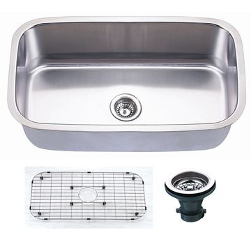 Empire 31 1/2 Inch Undermount Single Bowl 16 Gauge Stainless Steel Kitchen Sink with Soundproofing