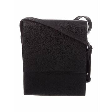 Grained Leather Crossbody Bag Black