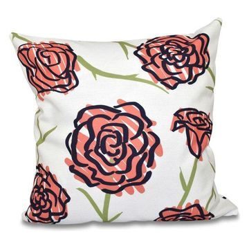 Spring Floral 1, Floral Print Pillow, Coral, 16