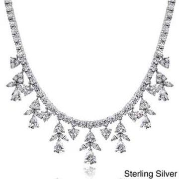 Icz Stonez Sterling Silver 44 3/5ct TGW Cubic Zirconia Dangling Teardrop Marquise Necklace (White - Sterling Silver)
