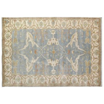 Exquisite Rugs Turkish Oushak Blue / Ivory New Zealand Wool Rug - 10' x 14'