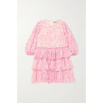 GANNI - Tiered Ruffled Floral-print Plisse-georgette Mini Dress - Pink
